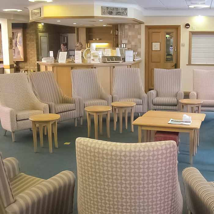 Lounge at the hospice with craft items